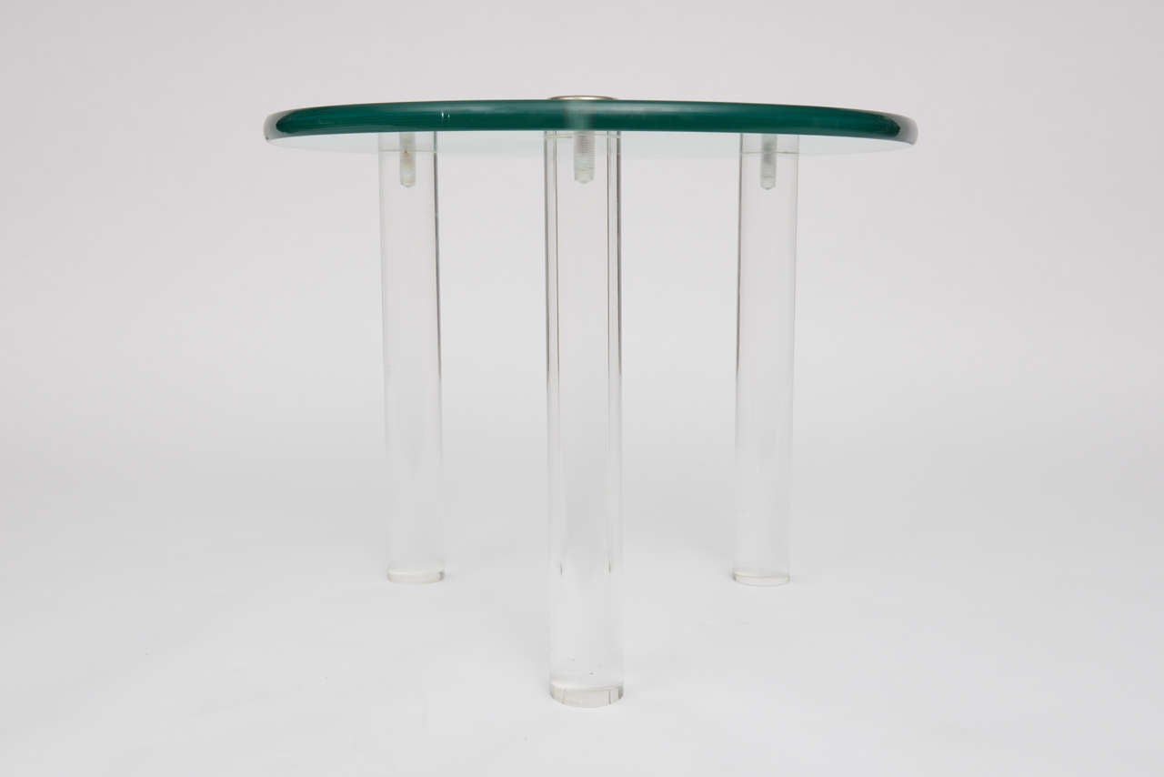 SALE!SALE! SALE! Lucite Side Tables with Thick Glass Top, Gilbert Rhode For Sale 4