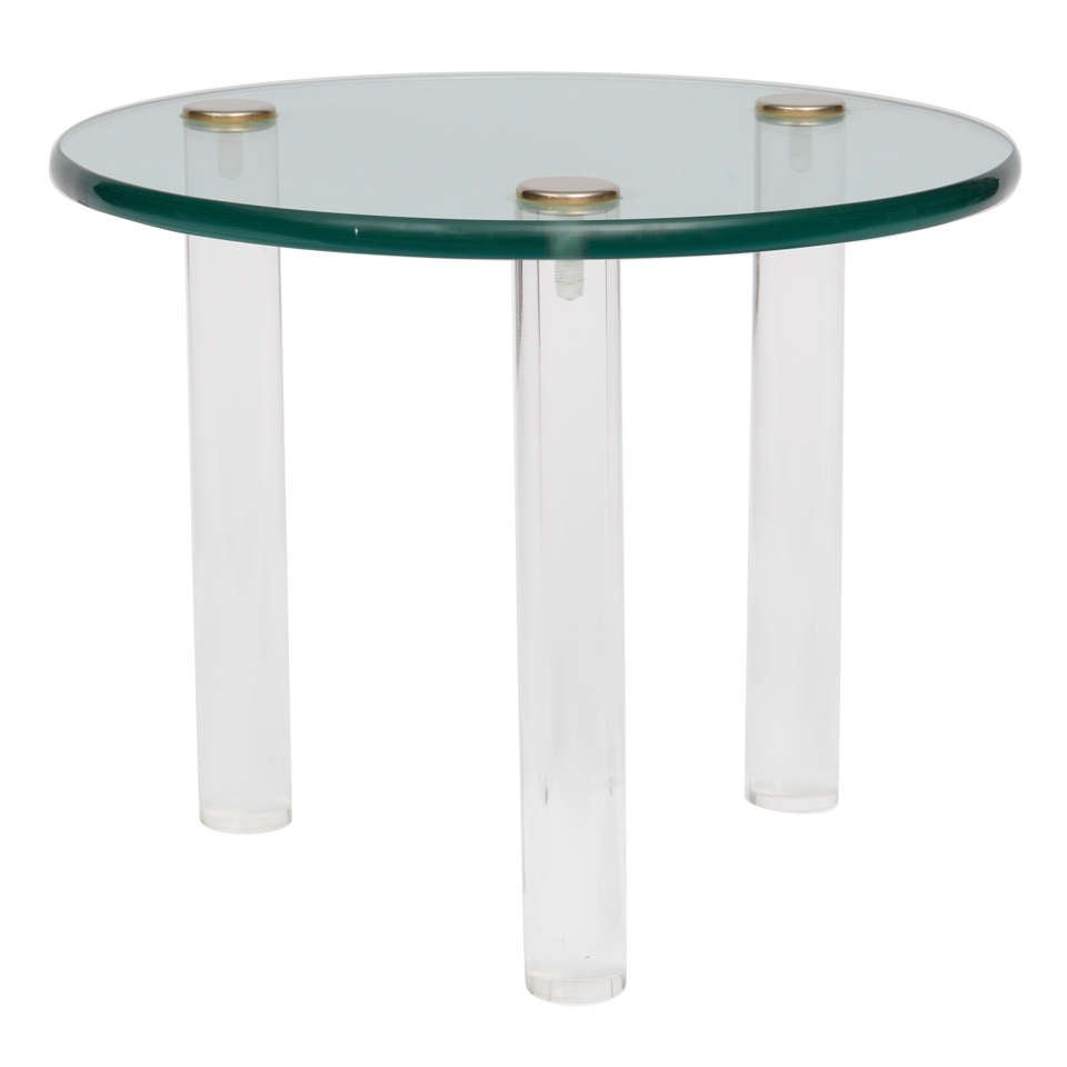 SALE!SALE! SALE! Lucite Side Tables with Thick Glass Top, Gilbert Rhode For Sale