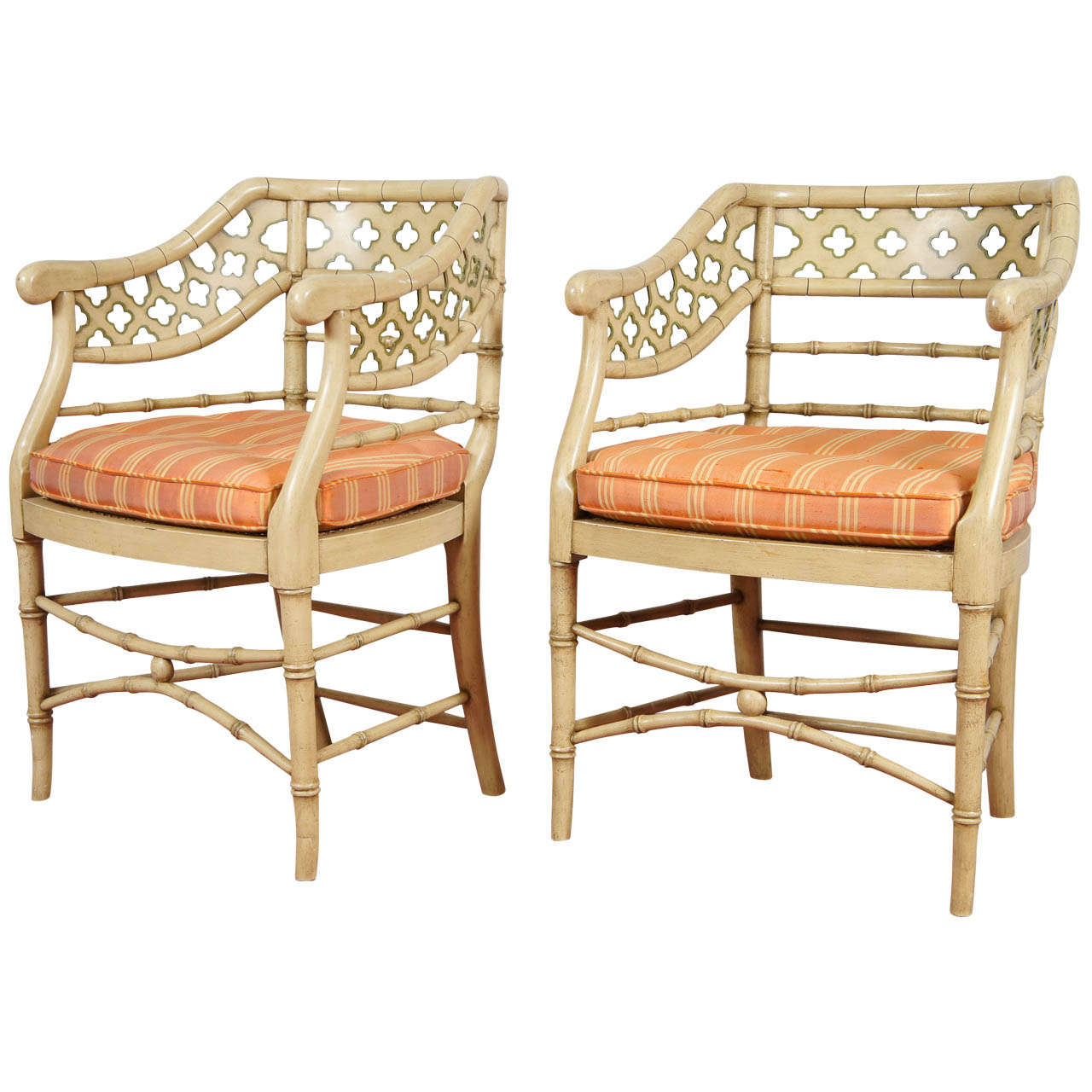 Regency Style Faux Bamboo Painted Chairs Pair At 1stdibs
