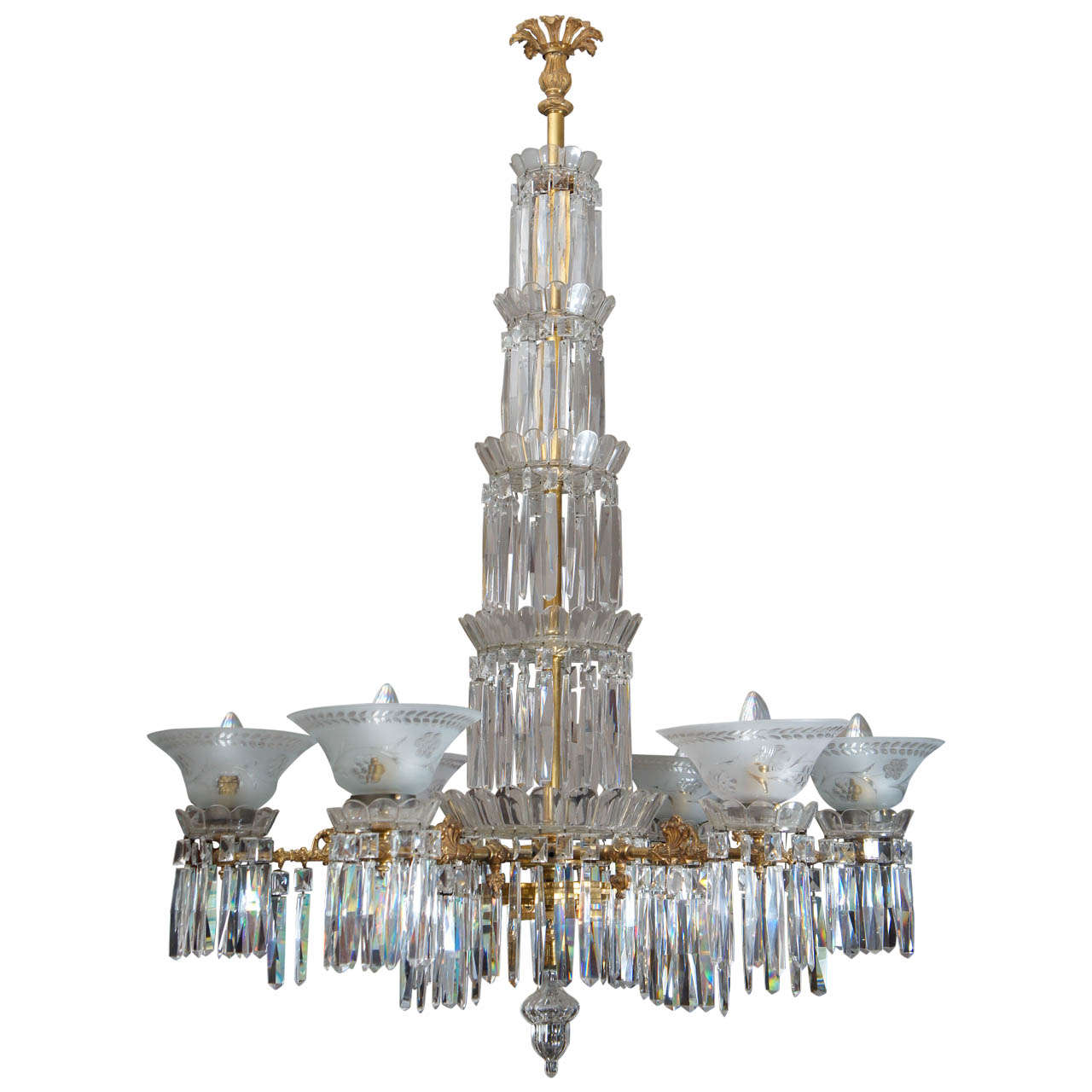 19th c. American Cut Crystal and Gilt Bronze 6 Light Gasolier/Chandelier
