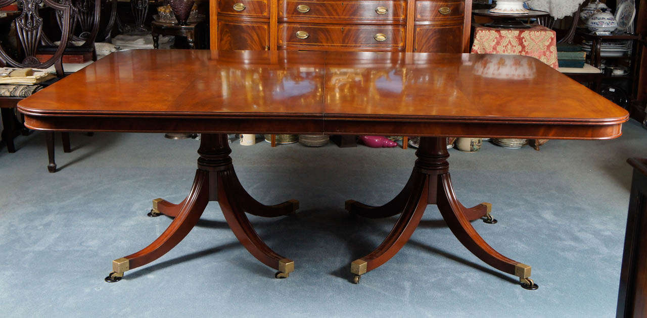Sheraton-Style Mahogany Triple Pedestal Monumental Dining Table with Two Leaves at 1stdibs
