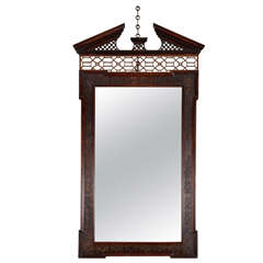 Extremely Rare Chippendale Period Mahogany Pier Mirror