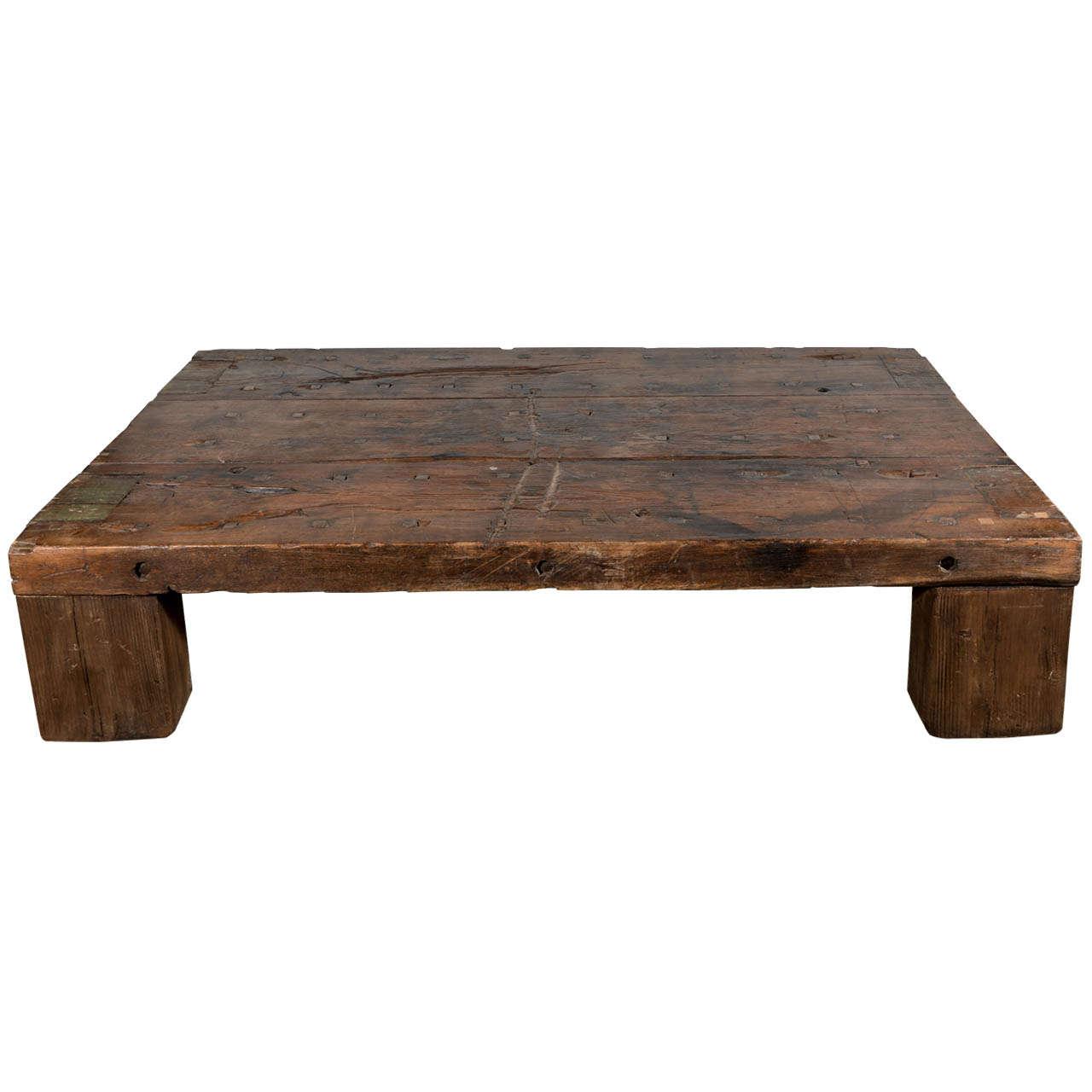 Primitive Oak Coffee Table At 1stdibs