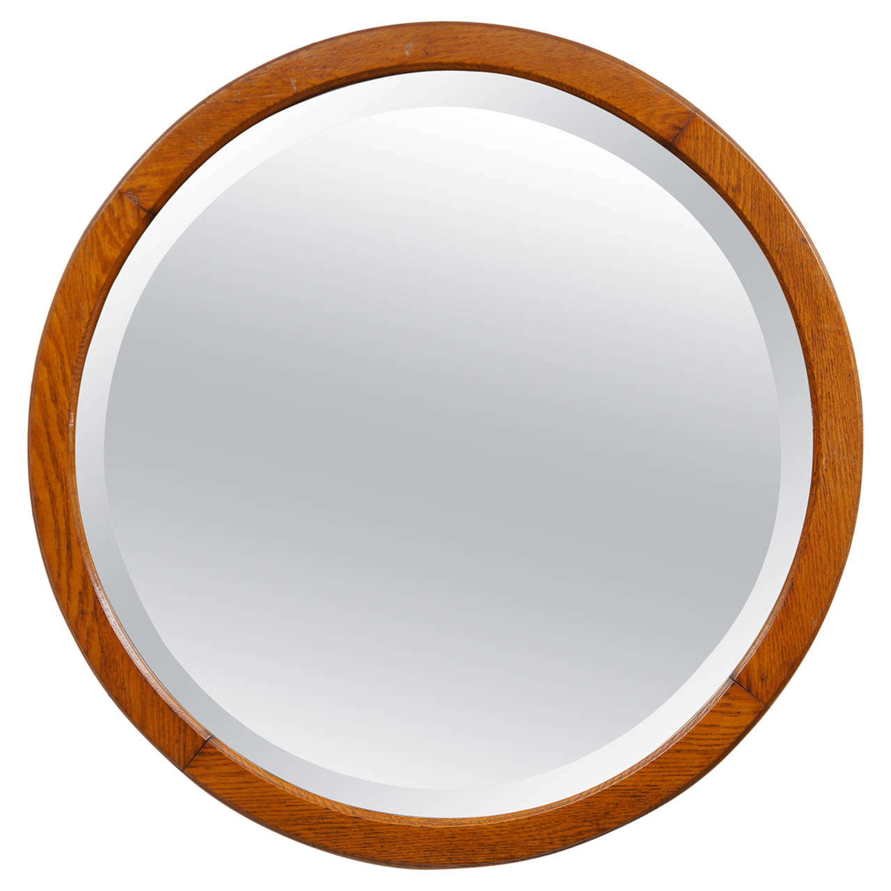 American beveled glass round mirror at 1stdibs for Beveled glass mirror
