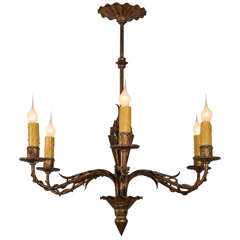 French Fer Doré Six-Arm Chandelier