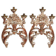 18th Century Pair of Mecca Silver Gilt and Carved Wood Italian Sconces