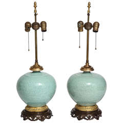 Pair of  Chinese Celadon Porcelain and Ormolu Mounted Vases as Lamps