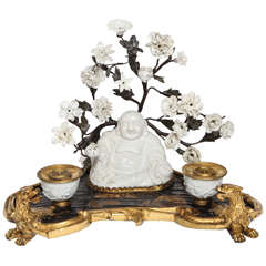 Chinoiserie Lacquer, Blanc de Chine Buddha and Ormolu Inkwell, 18th Century