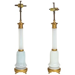 Pair of Antique French Louis XVI Faceted White Opaline and Gilt Bronze Lamps