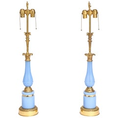 Pair of Antique French Blue Opaline and Gilt Bronze Lamps