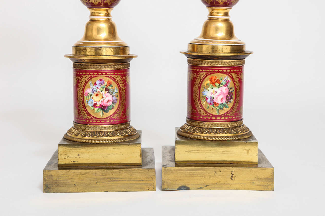 Pair of Antique French Empire Porcelain and Ormolu-Mounted Lamps For Sale 2