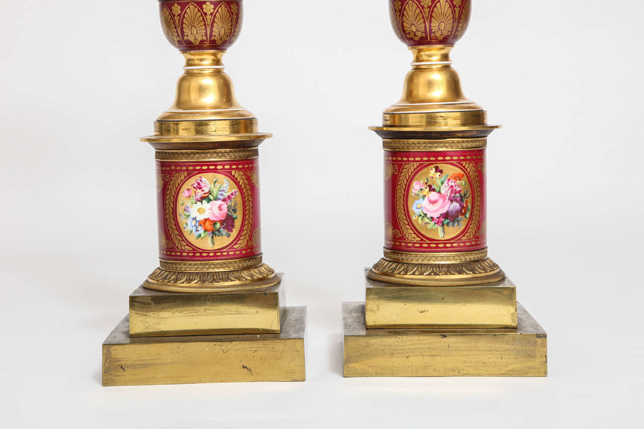 Pair of Antique French Empire Porcelain and Ormolu-Mounted Lamps For Sale 3