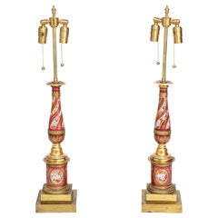 Pair of Antique French Empire Porcelain and Ormolu-Mounted Lamps