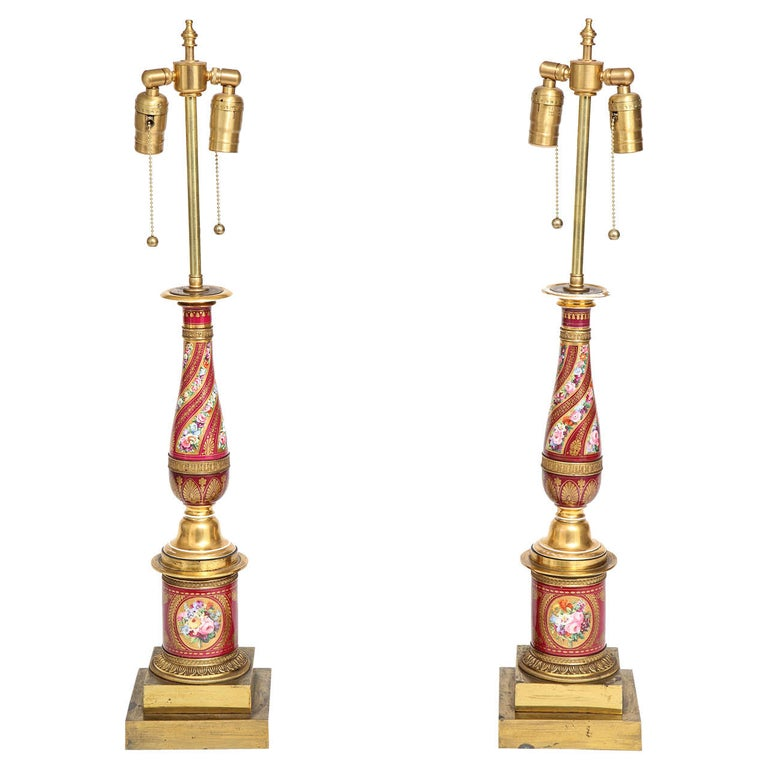 Pair of Antique French Empire Porcelain and Ormolu-Mounted Lamps For Sale