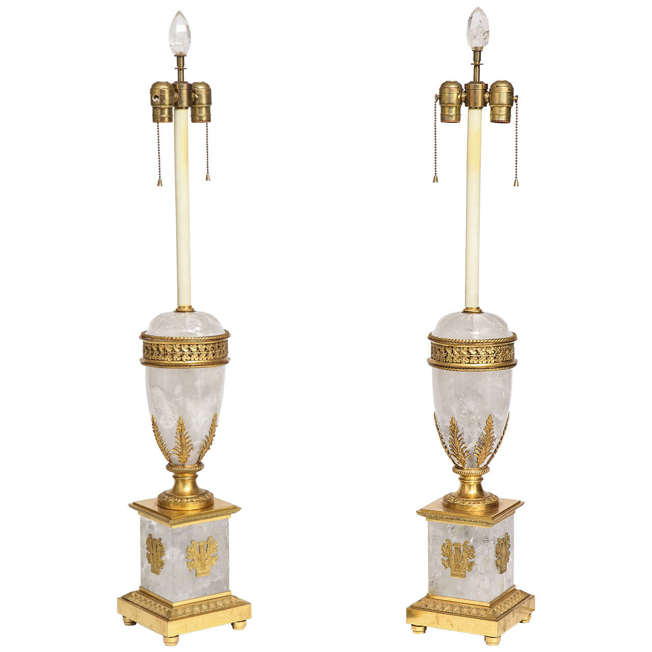 Extraordinary Pair Of Antique French Neoclical Rock Crystal And Ormolu Lamps For