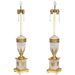 Pair of Antique French Neoclassical Rock Crystal and Ormolu Lamps