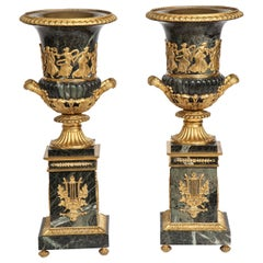 Pair of Antique French Neoclassical Verde Antico Marble and Ormolu-Mounted Urns