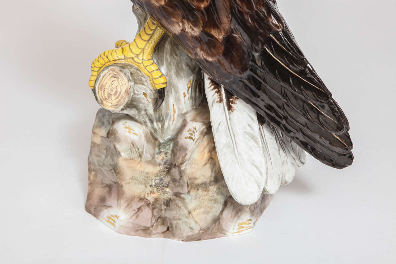 Large, Impressive and Rare Meissen Porcelain Model of an Eagle, circa 1880 In Excellent Condition For Sale In New York, NY