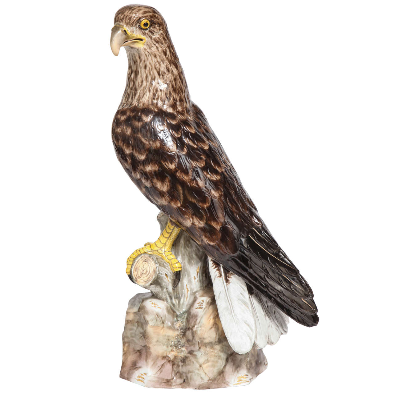 Large, Impressive and Rare Meissen Porcelain Model of an Eagle, circa 1880 For Sale