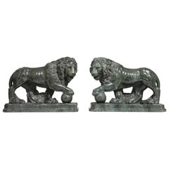 Pair of Large Verde Antico Marble Lions with Orbs by Pietro Simoni Da Barga