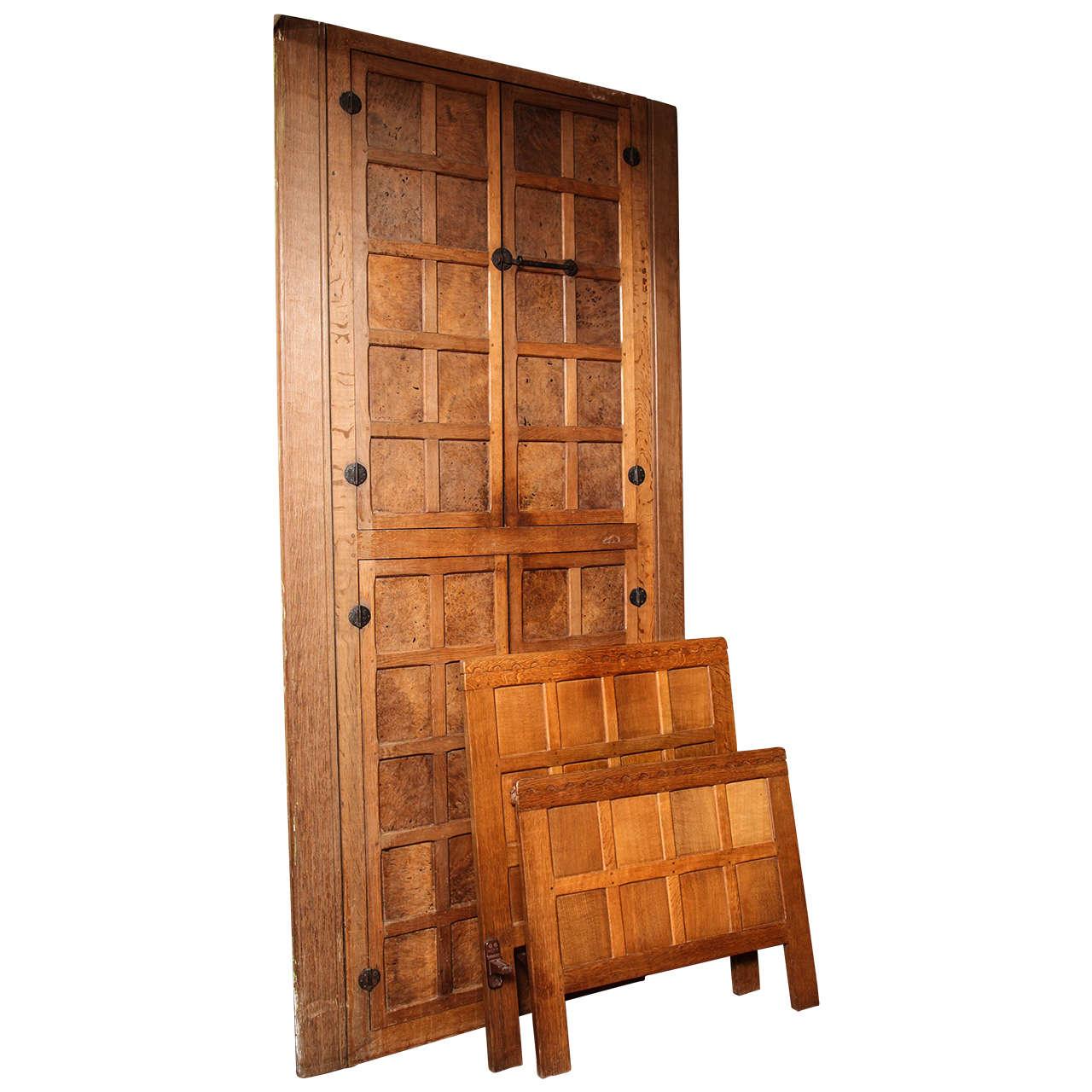 """Set of Original Vintage """"Mouseman"""" Door and Bed Frames"""