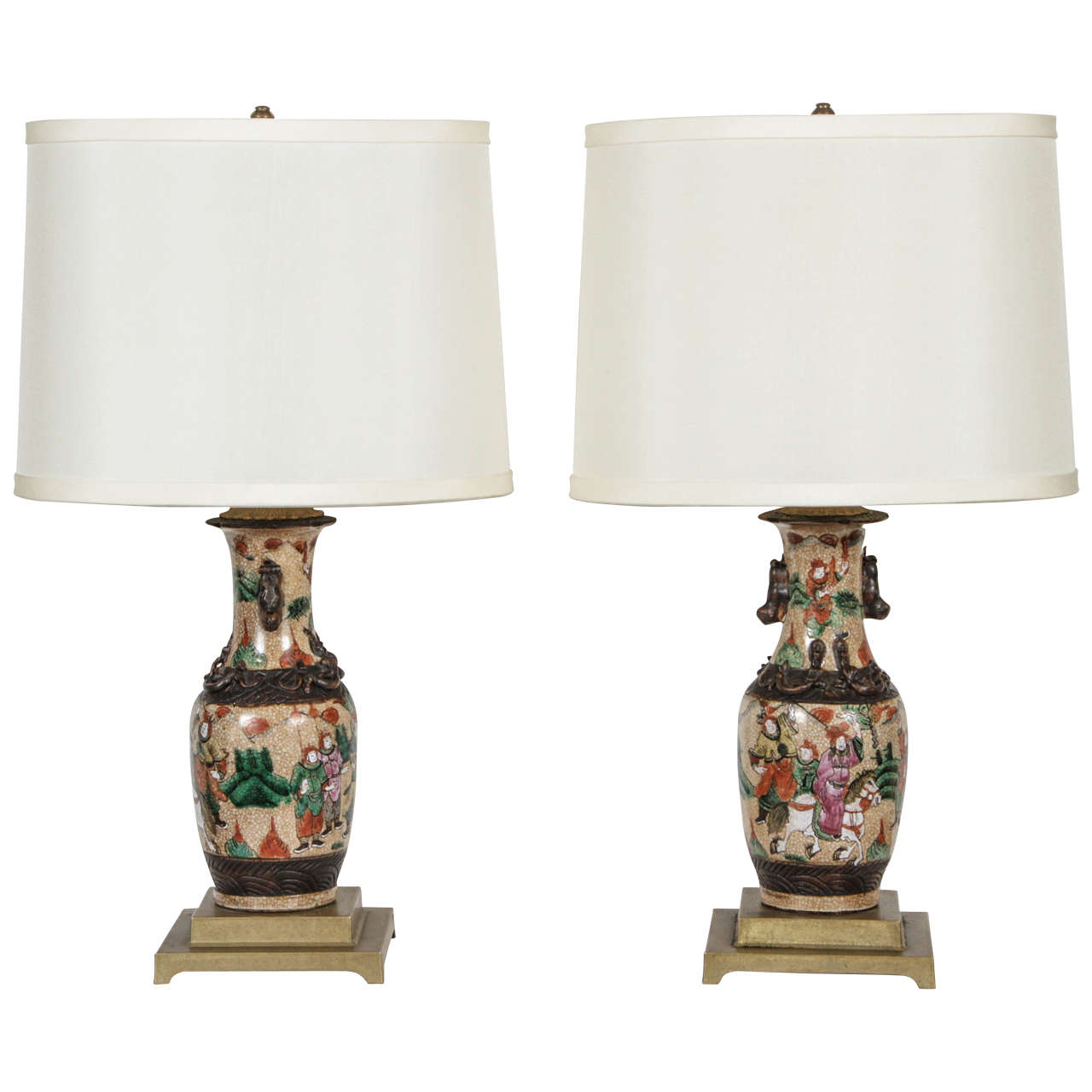 Pair of Chinese Lamps on Bronze Bases