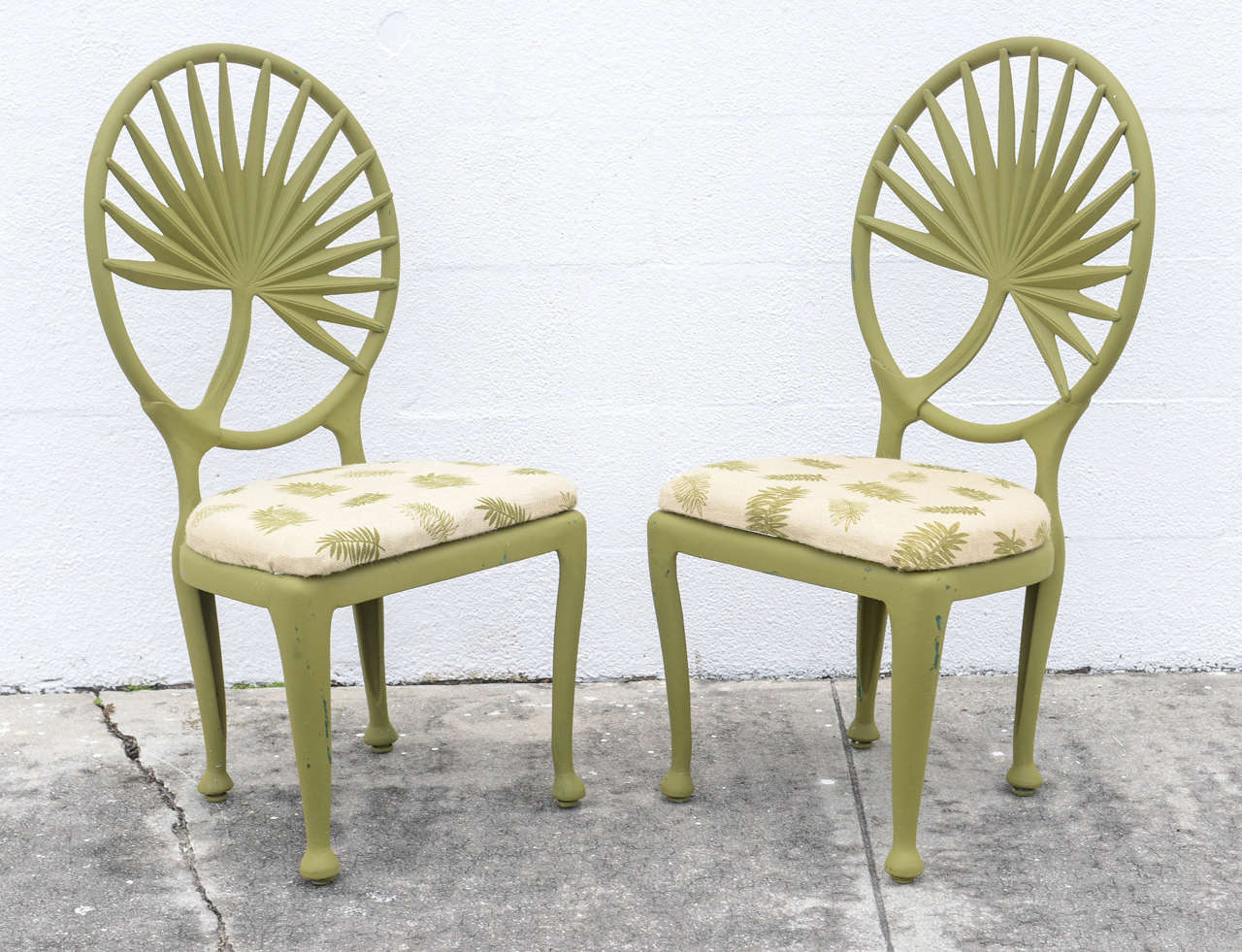 Aluminum Palm Frond Patio Chairs, Set Of Six At 1stdibs