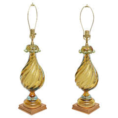 Extraordinary Pair of Murano Lamps