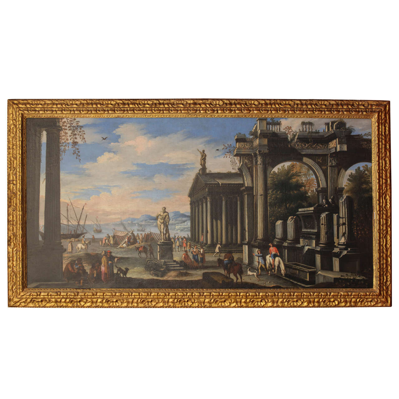 Marvelous photograph of capriccio of mediterranean port and classical architectural ruins oil with #B07C1B color and 1280x1280 pixels