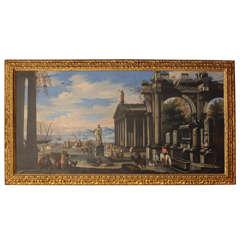 Capriccio of Mediterranean Port and Classical Architectural Ruins Oil on Canvas