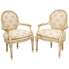 Pair of Painted and Parcel Gilt Italian Armchairs