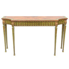 Hand Painted English Console with Satinwood Parquetry Top