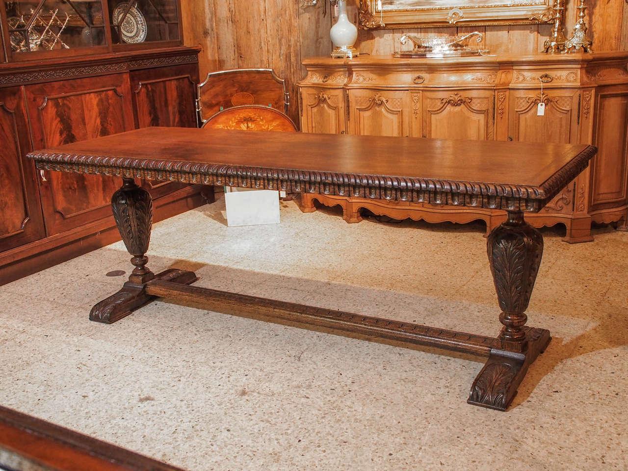 Antique th century english oak trestle table at stdibs