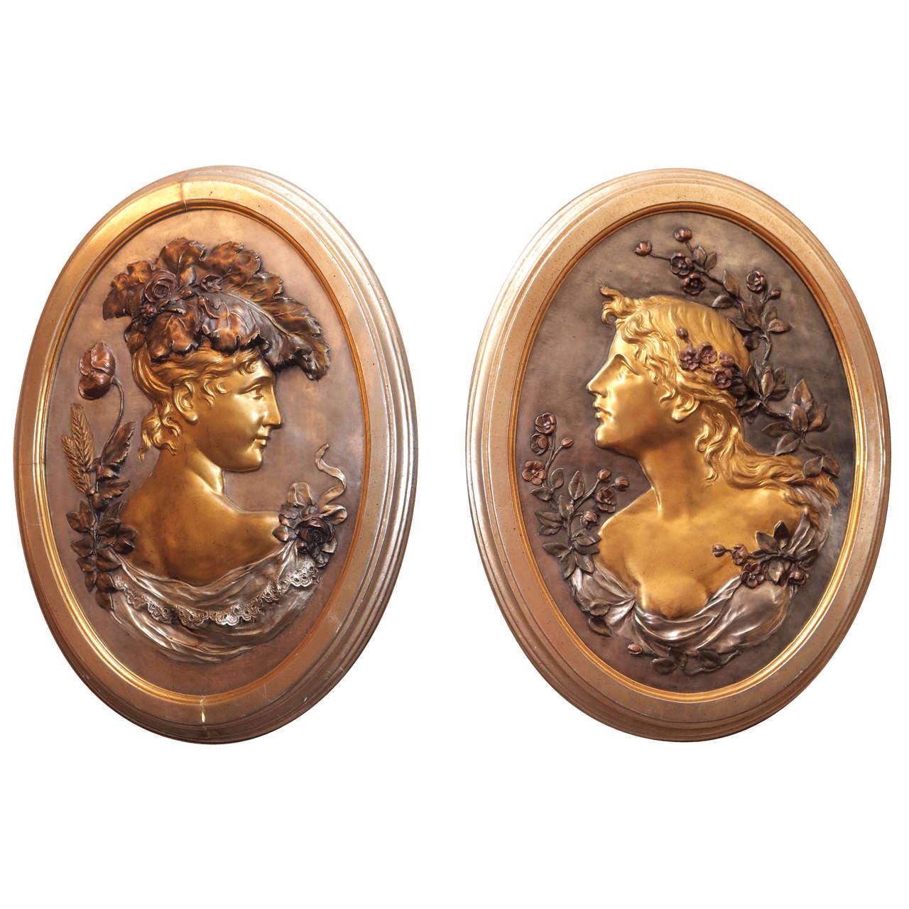 Pair of Superb Bronze Art Nouveau Portraits, circa 1930s