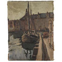 Signed Oil Painting of Harbor Scene