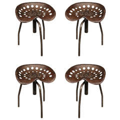 Set of Four Mid-Century Industrial Swivel Chairs on Tripod Legs from Belgium