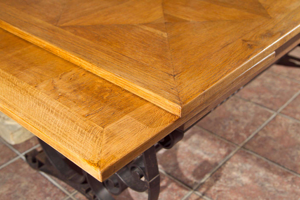 French Oak & Iron Dining Table For Sale