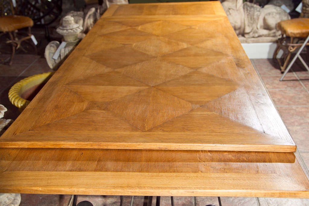Oak & Iron Dining Table In Good Condition For Sale In Mt Kisco, NY