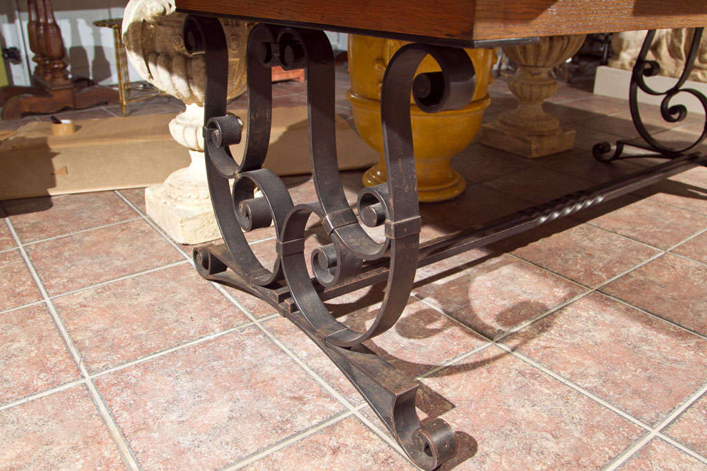 20th Century Oak & Iron Dining Table For Sale