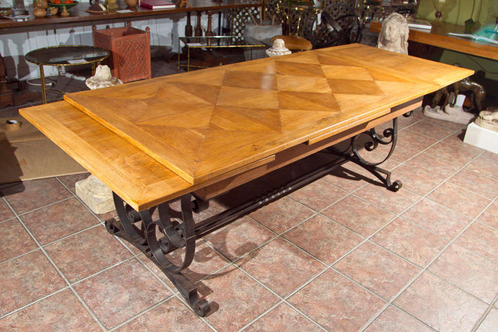 Oak & Iron Dining Table For Sale 3