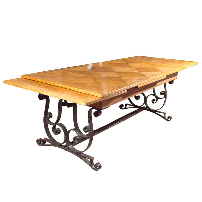 Oak & Iron Dining Table For Sale