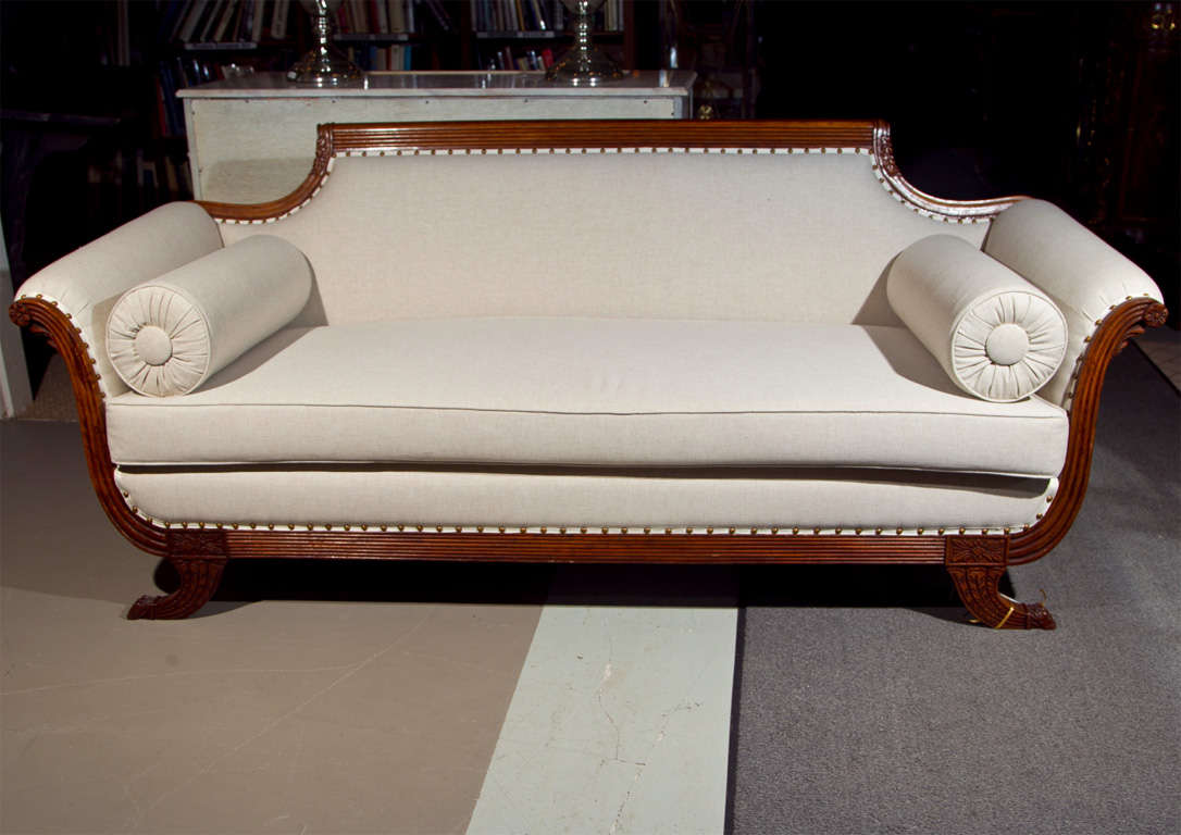 fabulous duncan phyfe style sofa all new upholstery at 1stdibs rh 1stdibs com Duncan Phyfe Antiques Vintage Duncan Phyfe Sofa
