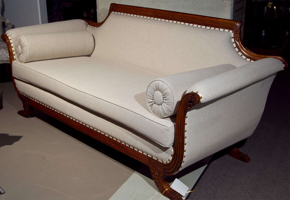 Wood Fabulous Duncan Phyfe Style Sofa all new upholstery For Sale