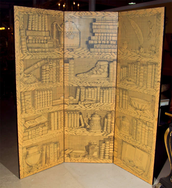 Fornasetti style three-panel folding screen with papier decoration.   Each panel is 24
