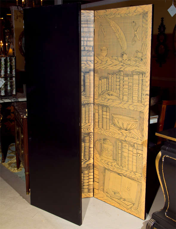 Fornasetti Style Three-Panel Screen For Sale 3
