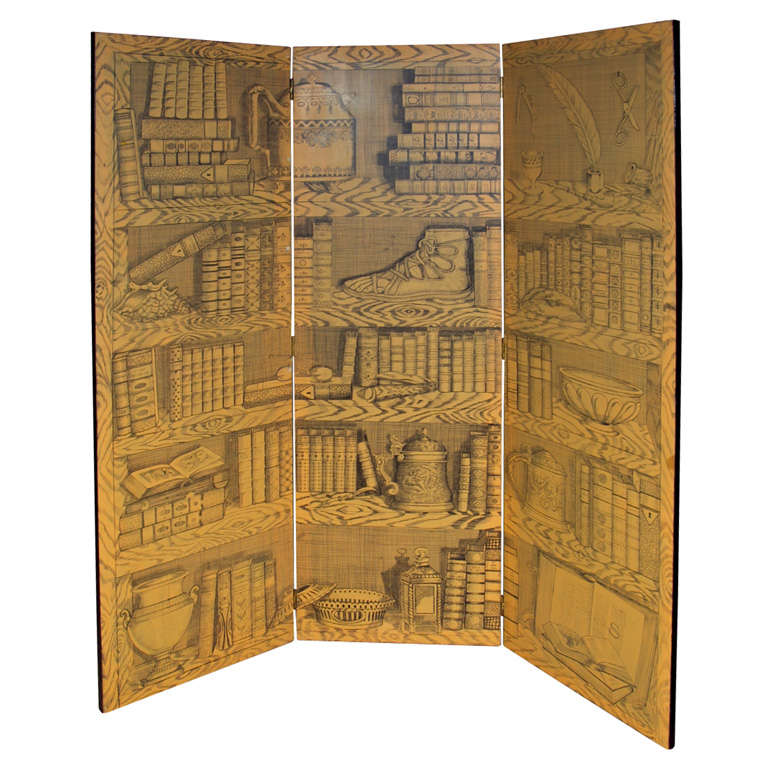 Fornasetti Style Three-Panel Screen For Sale