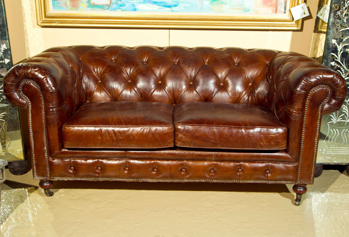 A English Leather Chesterfield Sofa Sette One Of Two For Sale At 1stdibs
