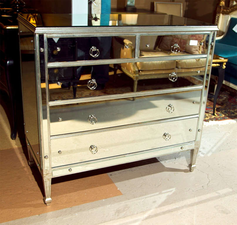 Silver Chest Of Drawers ~ Vintage silver leaf with mirrored chest of drawers at stdibs