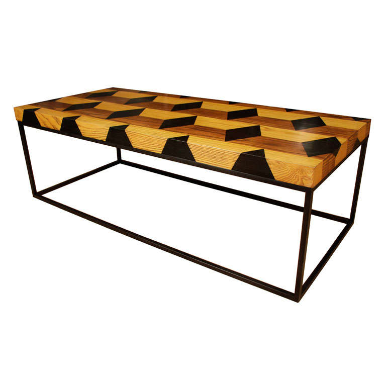 Coffee table with a geometric inlaid wooden top on metal for Geometric coffee table
