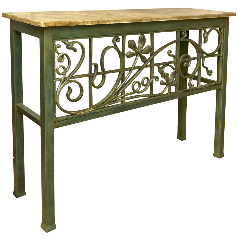 Painted wrought iron console table at 1stdibs for Wrought iron sofa table base